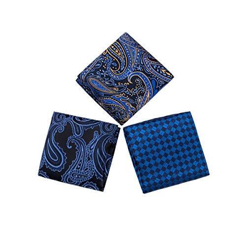 Purple Men's Silk 3PCS Blue Tie Necktie Classic Blue for Red Refined The Design Cufflinks Hi Woven Set Jacquard Handkerchief Tie zTq5I