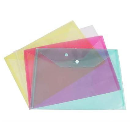 Purple A4 Plastic Stud Document Wallets Files Folders Filing School Office