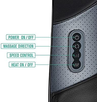 Medcursor Neck and Shoulder Massager, Electric Back Massager Machine with Heat and Speed Control, Deep Shiatsu Kneading Massage for Muscle Pain Relief, Office,Home & Car Use