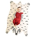 Finebaby Baby Blanket Cartoon Animal Shape Bear Pattern Muslin Cotton Infant Crawling Mat Early Development Education Rug 45'' x 26''(LxW)