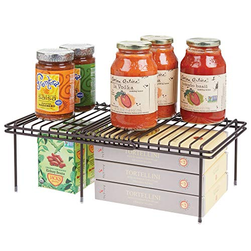 mDesign Adjustable, Expandable Metal Wire Kitchen Cabinet, Pantry, Countertop Organizer Storage Shelves - Durable Steel, Non-Skid Feet - Up to 19.5