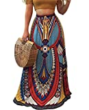 Oberora-Women Africa Print Drawstring Elastic Waist Swing Long Maxi Skirts As Picture XS