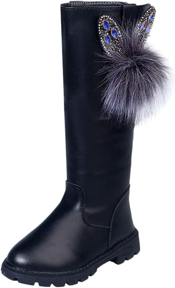 Shan-S Children Kids Baby Girls Thigh High Boots Teen Winter Warm Shoes Fashion Crystal Pearl Hairball Zip Leather Waterproof Flats Wedding Party Princess Shoes