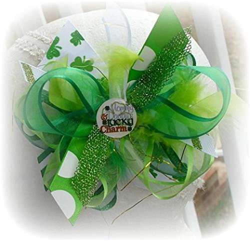 MOMMY AND DADDY'S LUCKY CHARM INFANT TODDLER LITTLE GIRLS HAIR BOWS ORGANZA GREEN WHITE