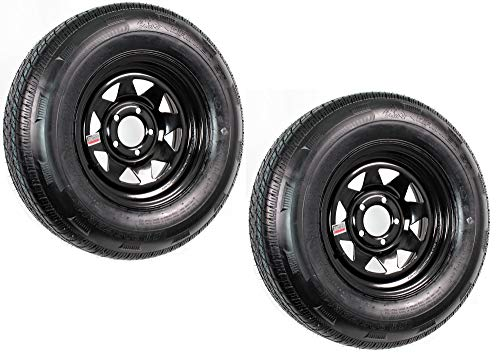 eCustomRim 2-Pack Trailer Tire and Rim Radial ST205/75R14D 14X5.5 5-4.5 Black Spoke