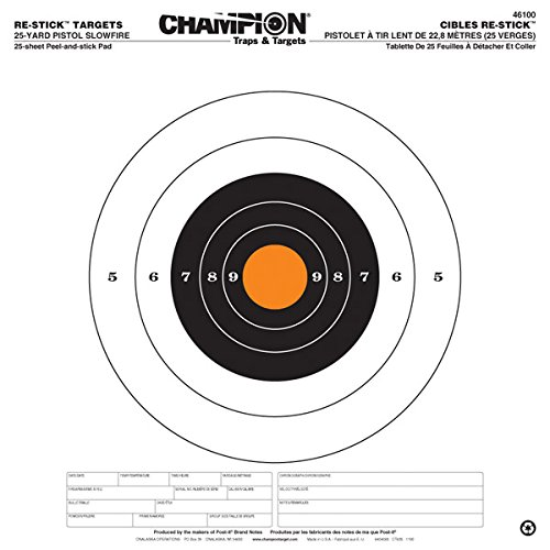 - Champion Traps and Targets Re-Stick 25 Yard Pistol Slow File Target (14.5 x 14.5)