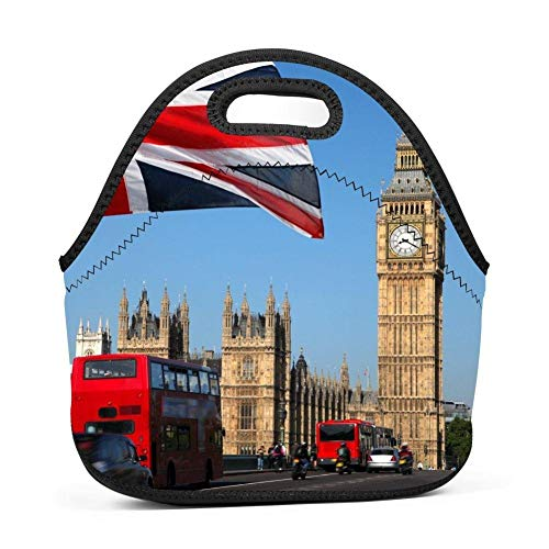Big Ben Monument Flag Lunch Bag Portable Tote Bento Pouch Lunchbox Baby Bag Multifunction Zipper Satchel for Outdoor Tour School Office Picnic Storage Bag