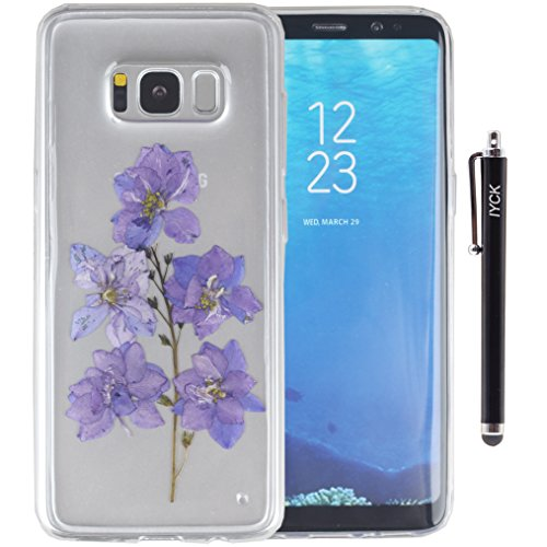 S8 Case, Galaxy S8 Case, iYCK Handmade [Real Dried Flower and Leaf Embedded] Pressed Floral Flexible Soft Rubber Gel TPU Protective Shell Bumper Back …