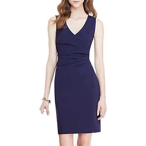 WOOSEA Women's Elegant Deep V Neck Sleeveless Business Wear to Work Pencil Dress