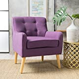 Fontinella Mid Century Tufted Back Fabric Arm Chair (1, Purple)