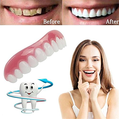 Set Grillz Fang (Inverlee Comfort Fit Teeth Top Cosmetic Veneer One Size Fits All (White))