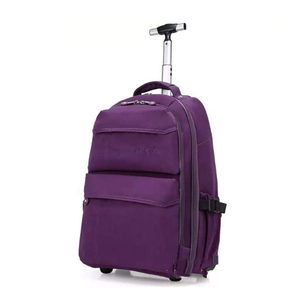 男性トロリーバックパックオックスフォードトラベル荷物バックパックホイールホイールローリングバッグ手荷物女性旅行トロリー荷物スーツケース B07MNHJCJ4 Purple