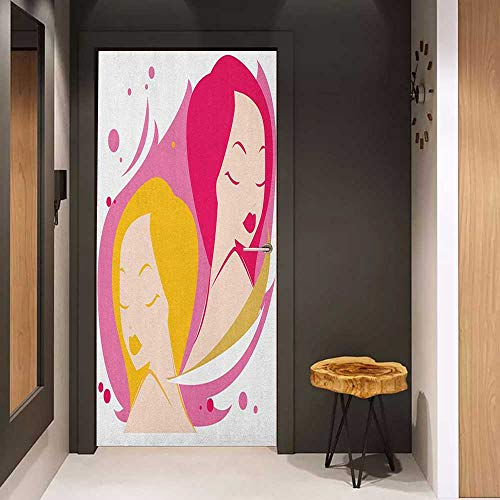 Onefzc Photo Wall Decal Zodiac Gemini Two Women Twins Illustration on Pink Western Astrology Concept Feminine Art for Home Decor W32 x H80 Multicolor ()