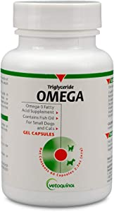 Vetoquinol Triglyceride Omega-3 Fatty Acid Supplement Capsules with Fish Oil for Pets