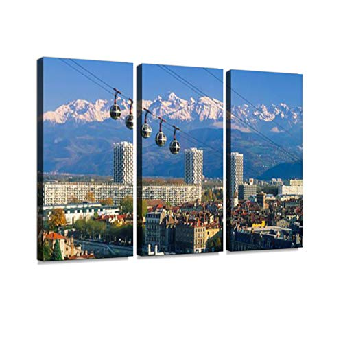 - Grenoble Cable car Print On Canvas Wall Artwork Modern Photography Home Decor Unique Pattern Stretched and Framed 3 Piece