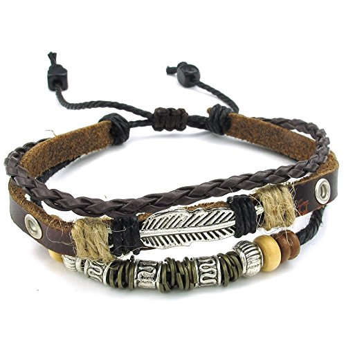 KONOV Leather Bracelet Feather Adjustable