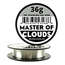 SS 316L - 100 ft. 36 Gauge AWG Stainless Steel Resistance Wire 0.13 mm 36g 100' by Master Of Clouds