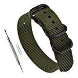 18mm Green Men's NATO Style Sport Watch Band Strap Replacement Ballistic Nylon