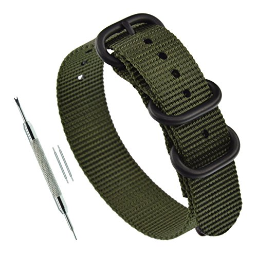 22mm Green Zulu Strap 3 Ring Nylon Watch Band with Heavy Duty Black Buckle