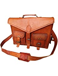 GENUINE NATURAL HANDMADE LEATHER SHOULDER LAPTOP CROSSBODY BAG IN 15 INCHES