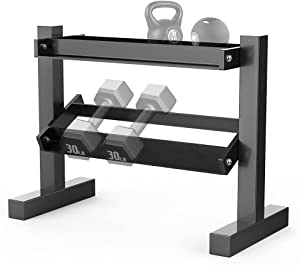 WEALLNERSSE 2 Tier Dumbbell Rack, Hand Weights Plates Kettlebells Weight Sets Stand, Compact Metal Dumbbell Holder for Home Gym (Rack Only)