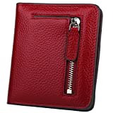 GDTK RFID Blocking Wallet Women's Small Compact Bifold Leather Purse Front Pocket Mini Wallet (Wine Red)