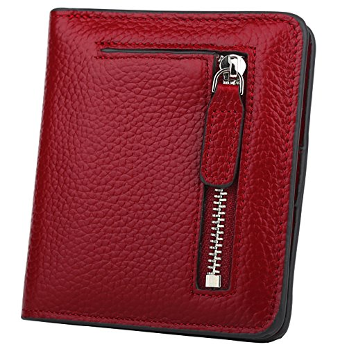 GDTK RFID Blocking Wallet Women's Small Compact Bifold Leather Purse Front Pocket Mini Wallet (Wine Red) by GDTK