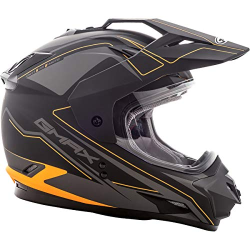GMAX GM11 Mens Expedition Dual Sports Helmet - Flat Black/Hi-Vis Orange Large