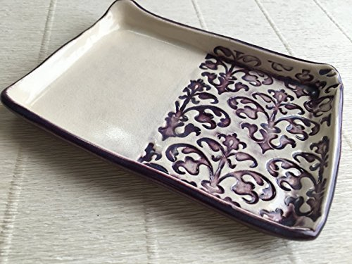 JANECKA Purple Lace, 4 x 5.5 Inch, Jewelry Tray, Ring Tray, Soap Dish