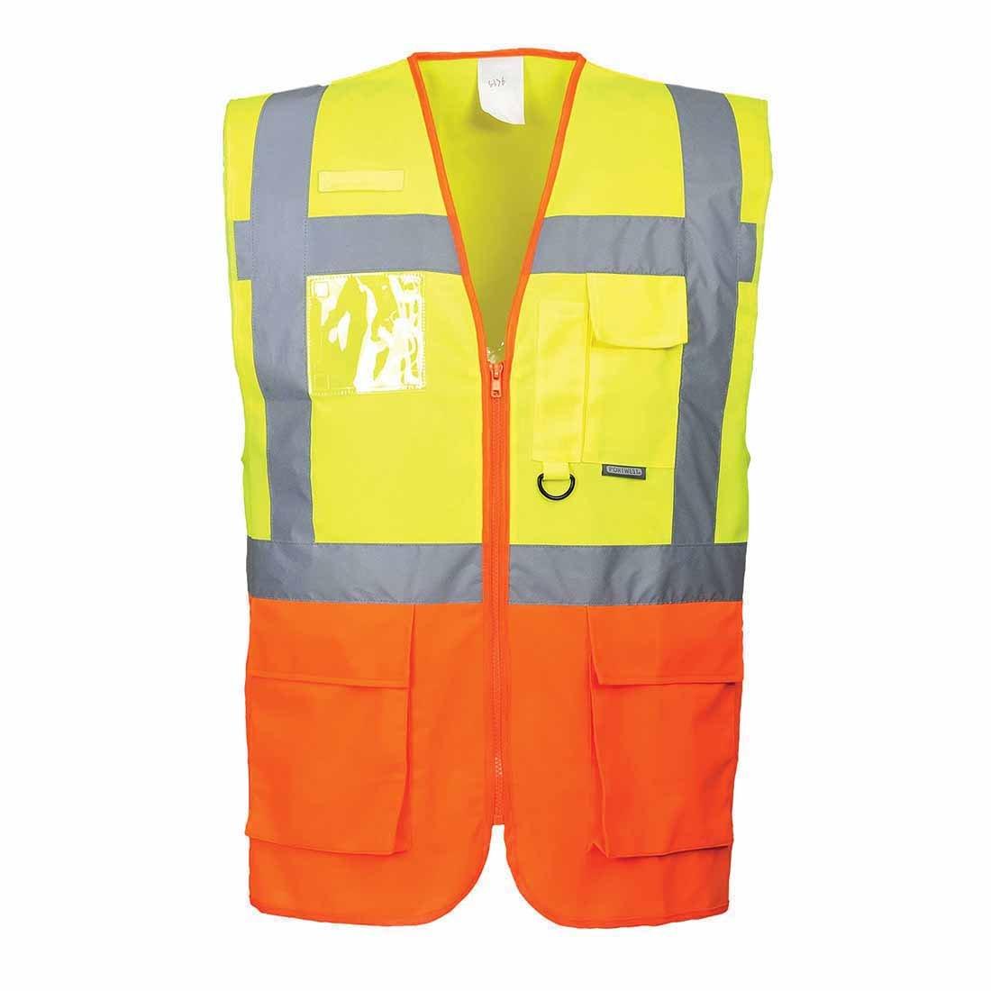 Portwest S376YORXXXL Prague Executive Vest Yellow//Orange Size 3X-Large Regular