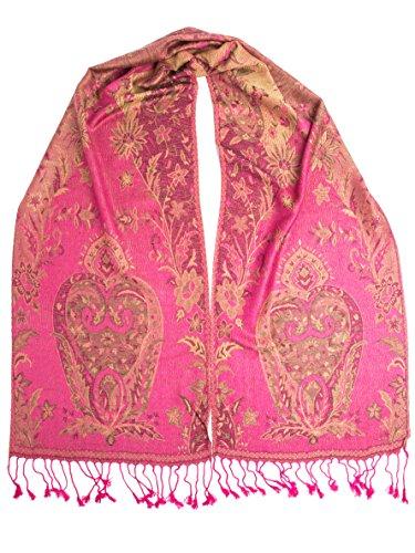 Bohomonde, Ramaya Scarf, Reversible Pashmina Indian Paisley Traditional Jacquard Scarf (Hot Pink)