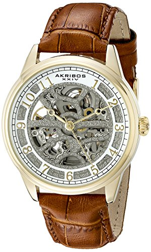 Akribos XXIV Men's AK807YG Automatic Movement Watch with Silver and White Dial Featuring Open Case back and Cognac Leather Strap