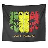 TOMPOP Tapestry Colorful Jamaica on the of Reggae Music Slogan Just Relax Grunge Graphics Green Rasta Rastafarian Home Decor Wall Hanging for Living Room Bedroom Dorm 50x60 Inches