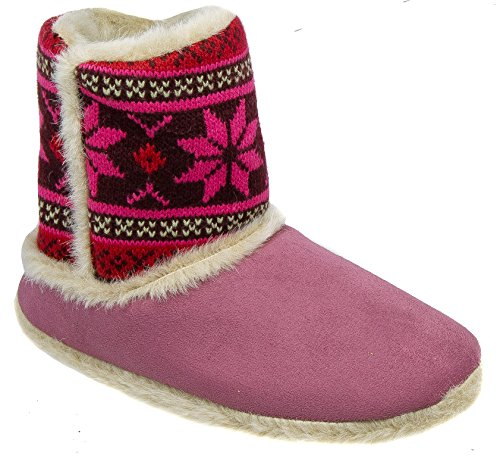 Coolers Womens Ladies Boot Slippers/Plum Warm Lined Slip On 93YEqIp7c9