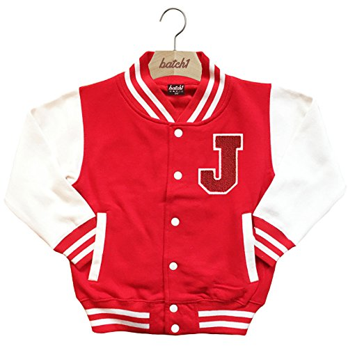 Batch1 Kids Varsity Baseball Jacket Personalised With Genuine Us College Letter J (5-6 Years, (Varsity Jackets For Kids)