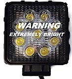 All purpose LED worklight- Aluminum case, 27W, Black, Square
