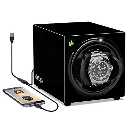 USB Automatic Watch Winder for Single Watch Dual Powered by Batteries & USB, Black by Cheopz (Handmade Heritage Panels)