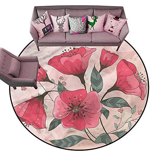 Anti Slip House Kitchen Door Area Rug Pink,Pink Romantic Flowers Diameter 72