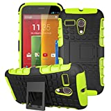 Moto G -1st Gen Case, ANGELLA-M Built-in Kickstand Hybrid Armor Case Detachable 2in1 Shockproof Tough Rugged Dual-Layer Cover Case for Motorola Moto G X1032 (1st Gen,2013) Green