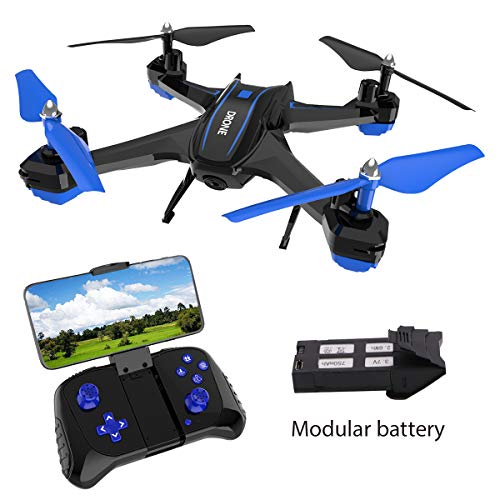Maxxrace FPV RC Drone with 720P HD Camera Live Video 2.4GHz 6-Axis Gyro Quadcopter for Kids & Beginners – Headless Mode, Altitude Hold, One Key Return, 360°Flip, Modular Battery