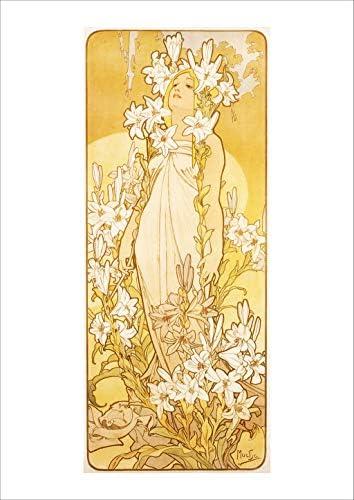 ポスター ミュシャ 『四つの花-ユリ』 A3サイズ【返金保証有 日本製 上質】 [インテリア 壁紙用] 絵画 アート 壁紙ポスター