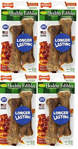 - (4 Pack) Nylabone Healthy Edibles Dog Chew Treat Bones (Petite Size - Bacon)