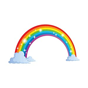 Mendom Rainbow Wall Decals, Peel and Stick Removable Wall Stickers for Kids Nursery Bedroom Living Room,Wall Decor 28.7 x15.7inch