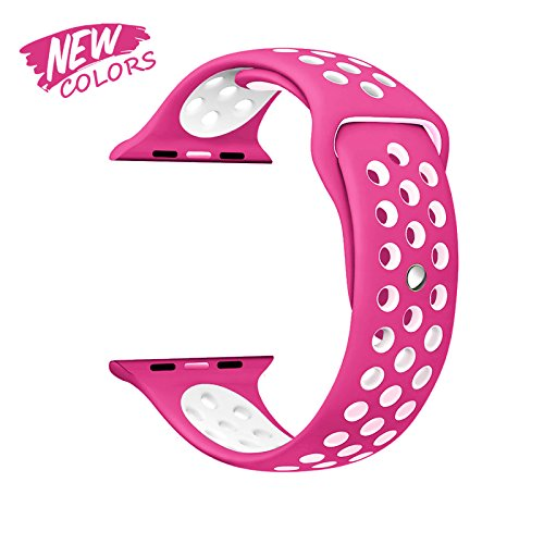 Price comparison product image TECH BS Apple Watch Nike Sport Band, Soft Silicone Replacement Wrist Strap for Apple Watch Series 2 Series 1 Nike+ Edition - 38 mm S/M – Barbie PINK New Color