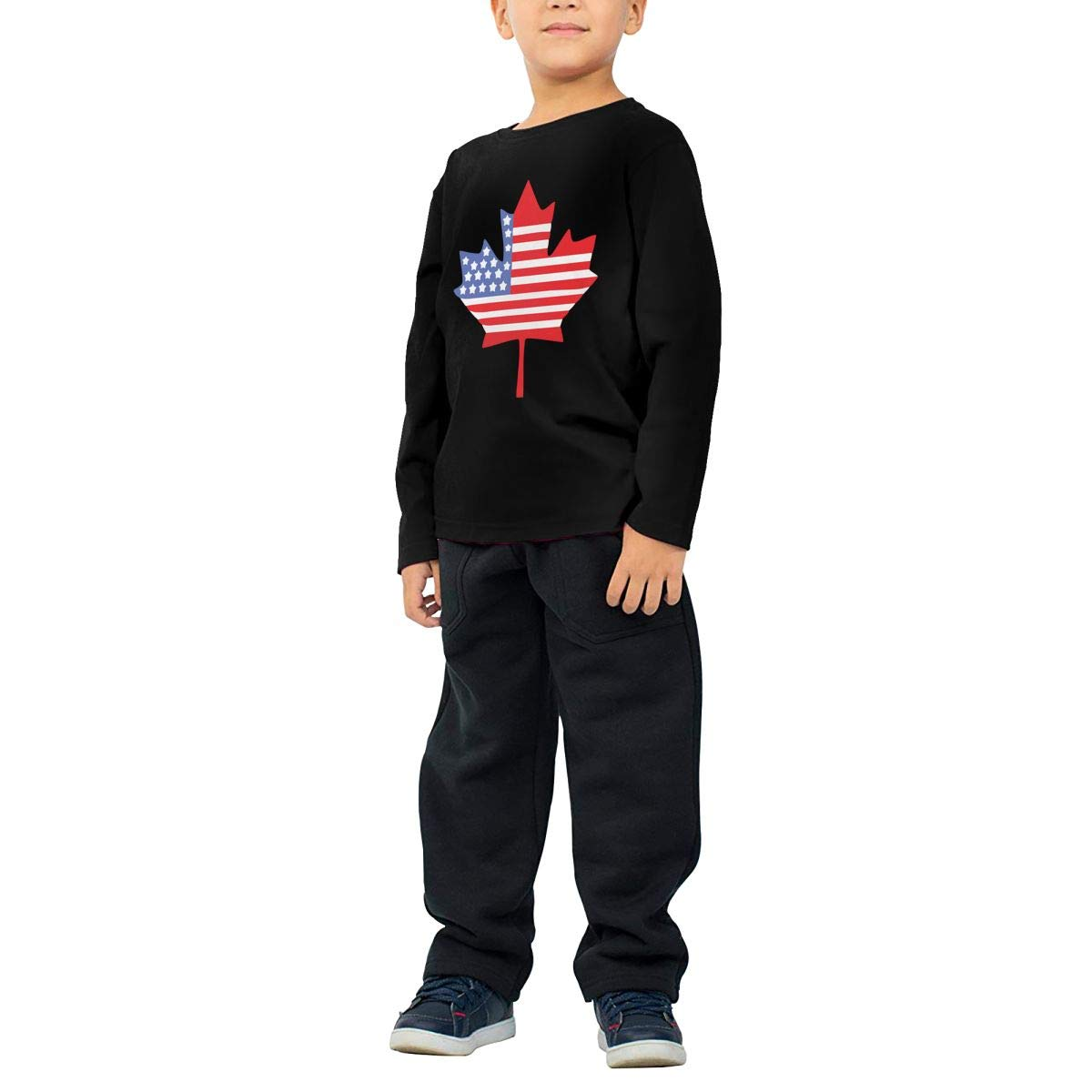 Baby Boys Kids Canadian American Flag Printed Long Sleeve 100/% Cotton Infants Tops