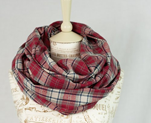 Flannel Plaid Infinity Scarf (Red)