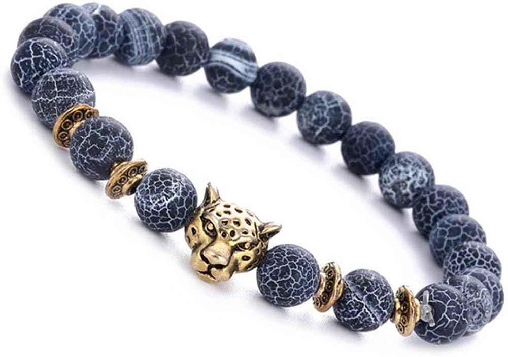 1Pac Pulseras de cuerda elástica Colgante de cabeza de leopardo Pulsera Piedra Redondo Negro Regalo de cumpleaños