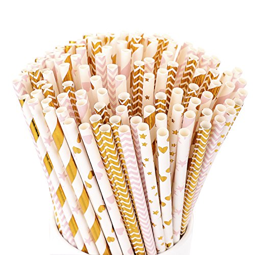 Hiware 200-Pack Biodegradable Paper Straws - 8 Different Pattern Pink Straws/Gold Straws for Party Supplies, Birthday, Wedding, Bridal/Baby Shower Decorations and Celebrations ()