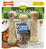 Nylabone Healthy Edibles Regular Chicken Flavored Dog Treat Bones with Vitamins, Triple Pack