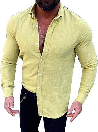 Camisa de bambú de Manga Larga con Botones de bambú para Hombres.: Amazon.es: Ropa y accesorios